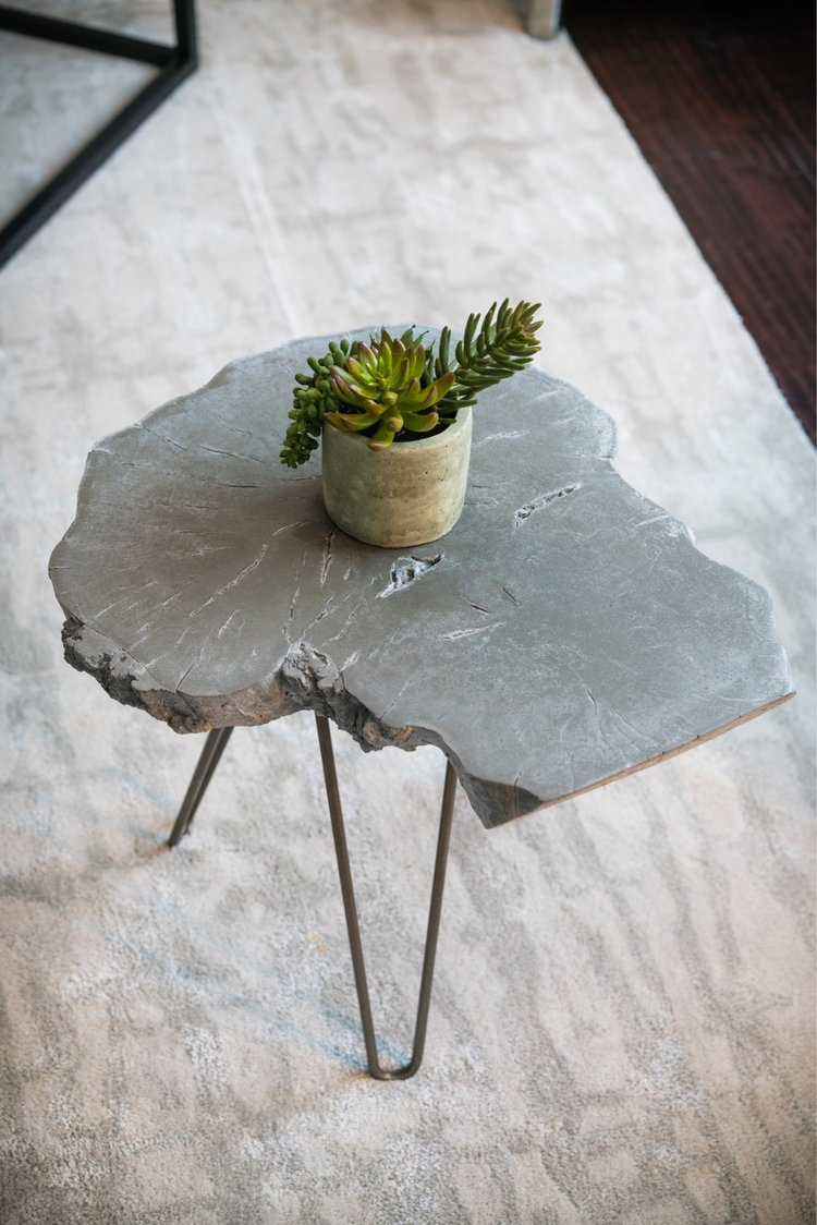 Vaughn Patrick Cain Designs side table / wood and concrete