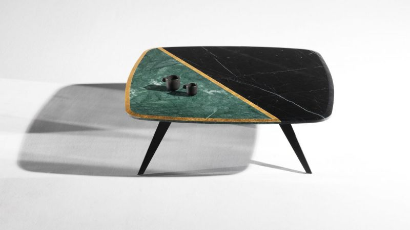 Distortion coffee table / 110x100cm, H38cm / marble top Nero Marquina - Verde Guatemala - Gold leaf, metal base
