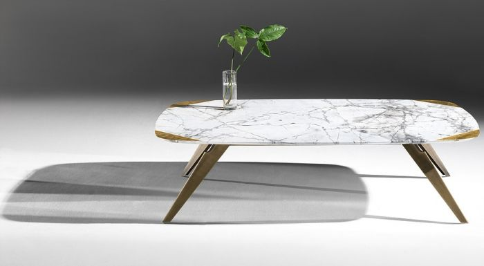 Malama coffee table / 130x90cm, H33cm / Invisible Frey marble top (Antolini) - Gold leaf, bronze metal base