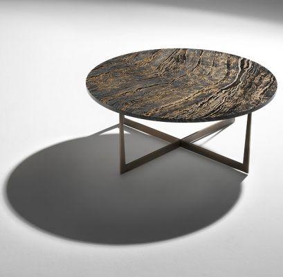 Illuminizer coffee table / 100cm diameter, H38cm / Dark Forest marble top - Gold leaf, metal base