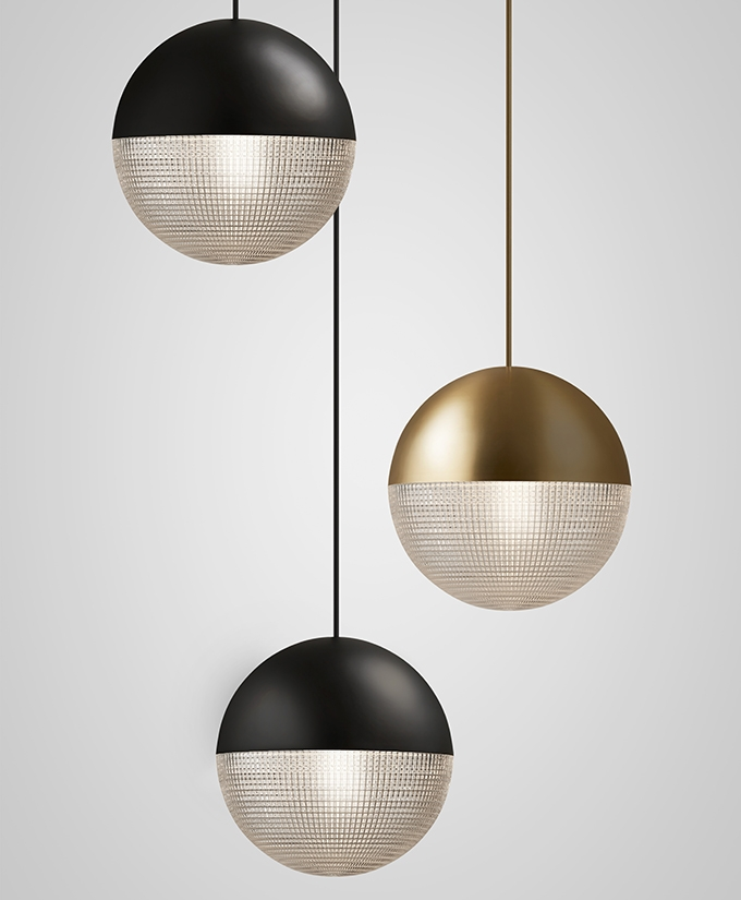 Lens flair pendant light / Lee Broom, celestial installation in steel and polycarbonate