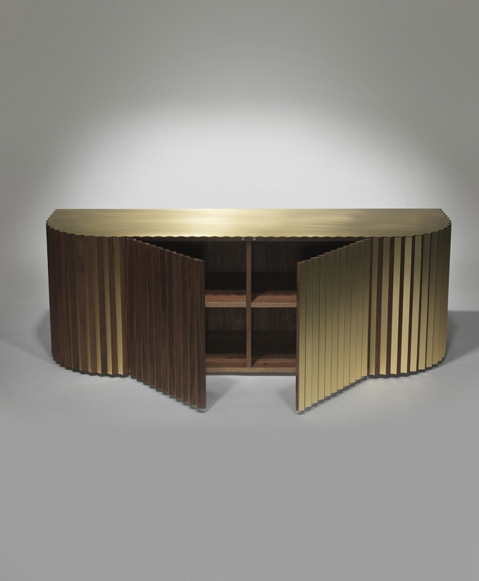 Shadow cabinet / Lee Broom, contemporary walnut and brass sideboard