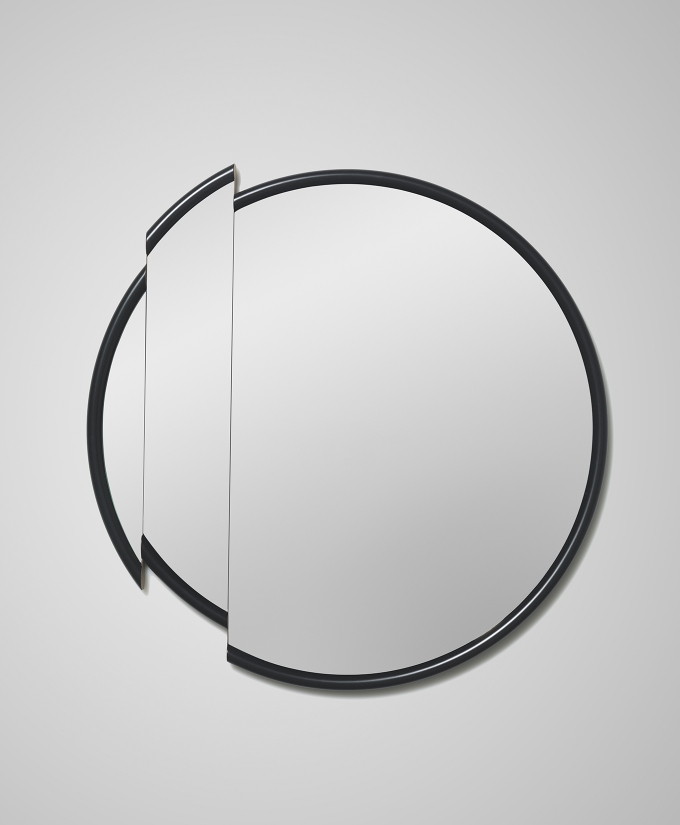 Split mirror round / Lee Broom, a precision cut mirror glass and black lacquered frame