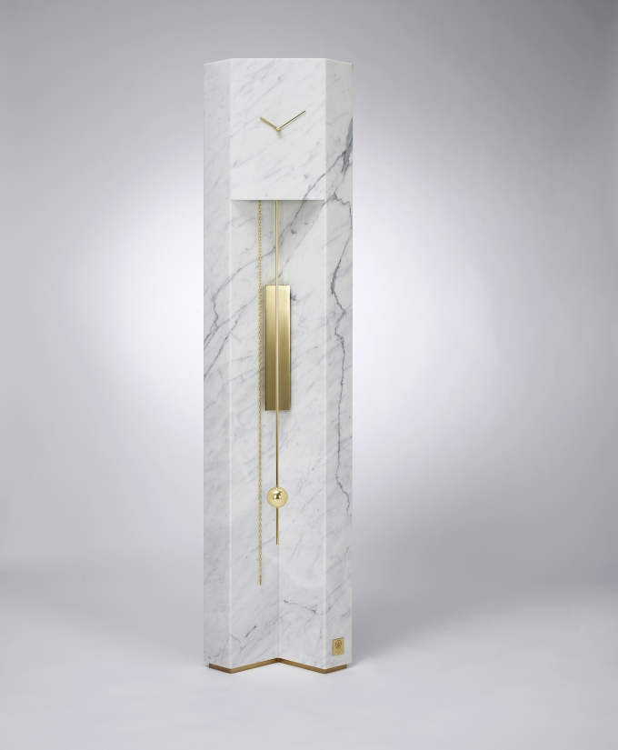 Time Machine / Lee Broom, grandfather clock in marble and brass