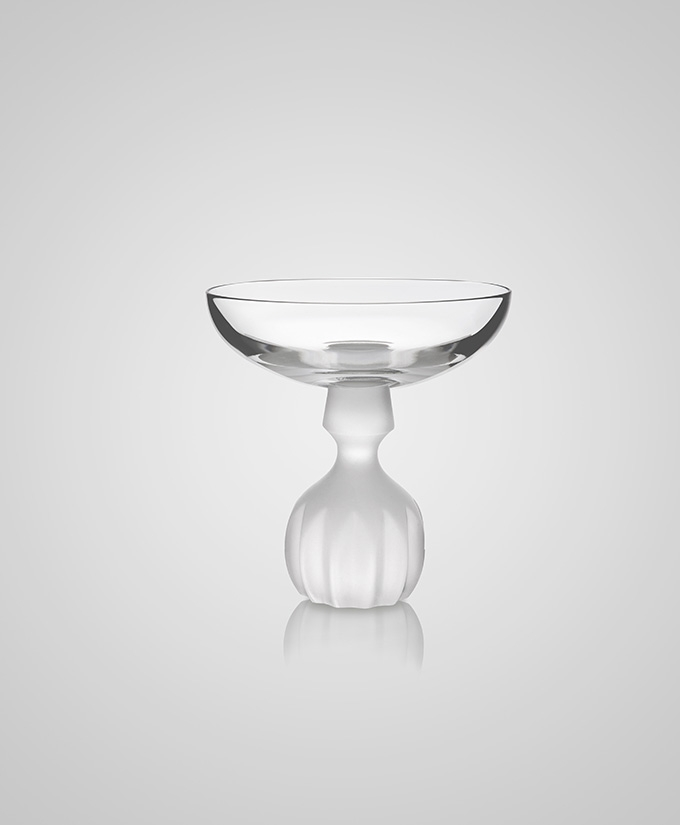 Half Cut Frosted Champagne Cup / Lee Broom, Crystal Champagne Cup and Wine Glass