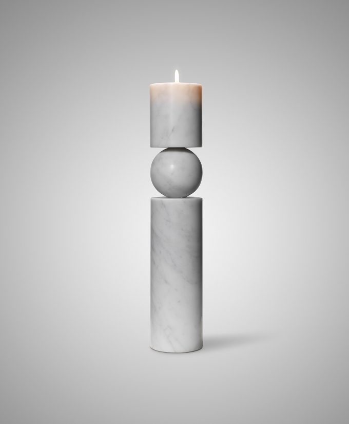 Fulcrum candlestick / Lee Broom, Sculptural Marble Candle Holder