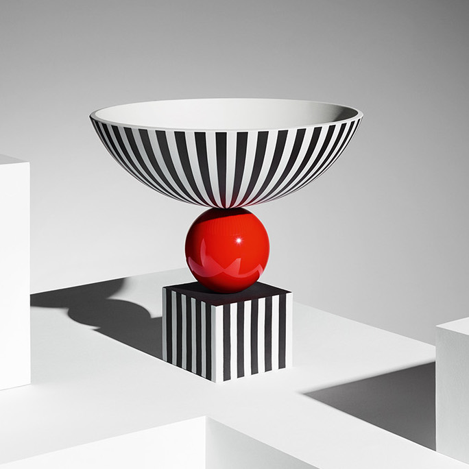 Wedgwood Bowl / Lee Broom, ceramic archetypal silhouette with glazing, red, black and white