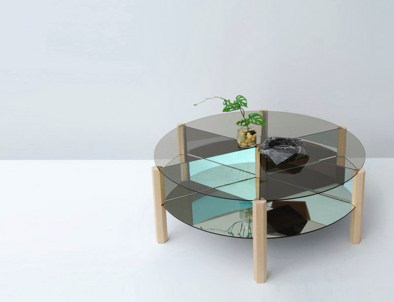 "Mirage, glass coffee table, 38"" in diameter and 16"" in height"