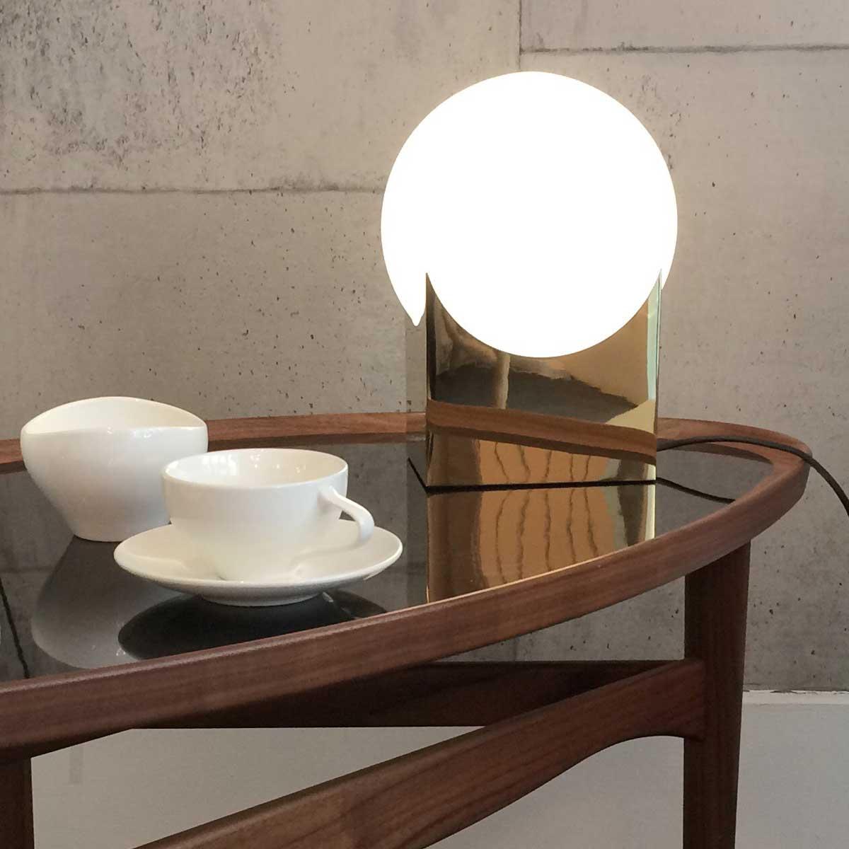 Atlas / Karl Zahn, glass table lamp with metal frame