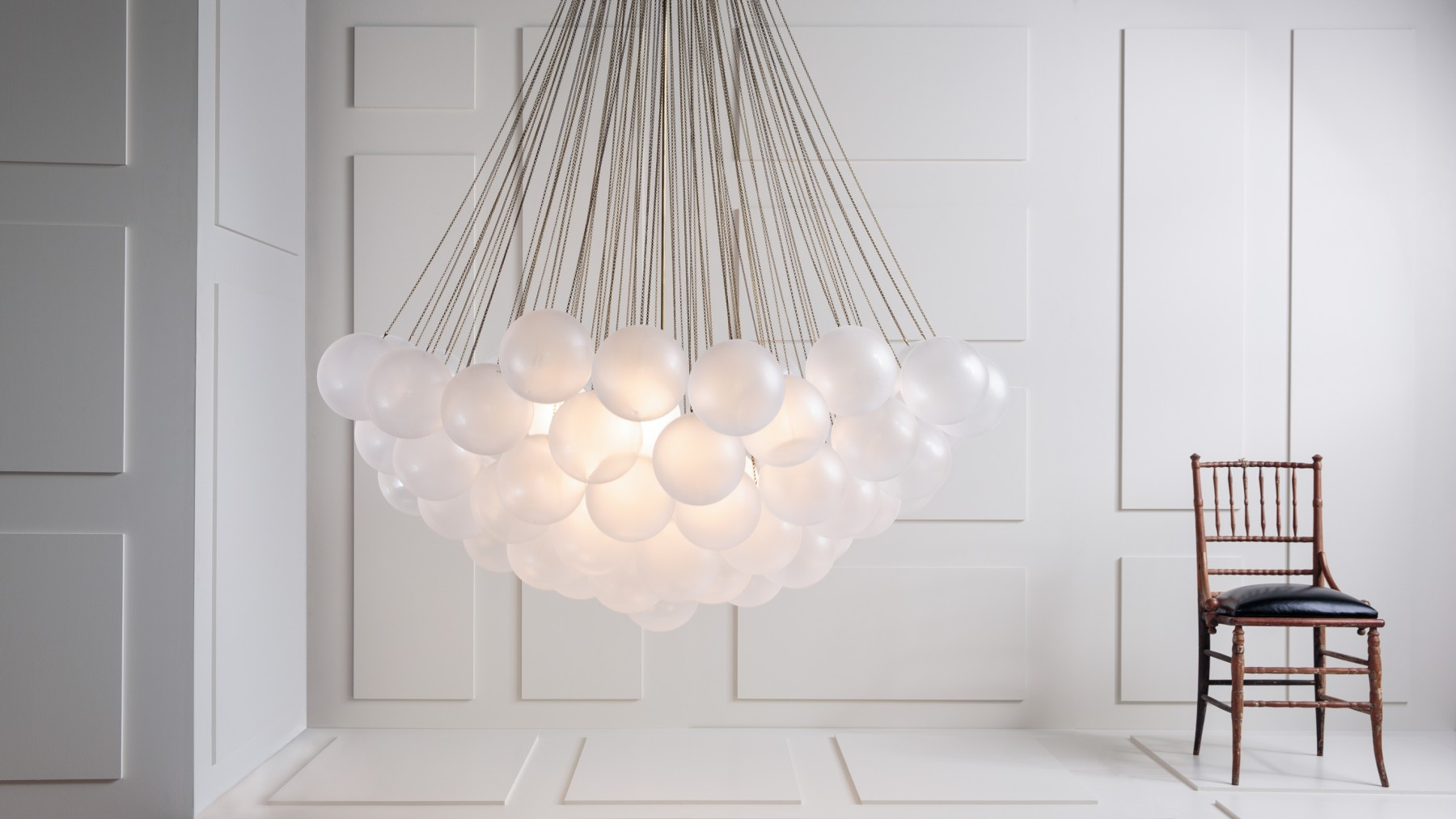 Cloud / Studio Apparatus, frosted glass chandelier by hand to create an uneven texture