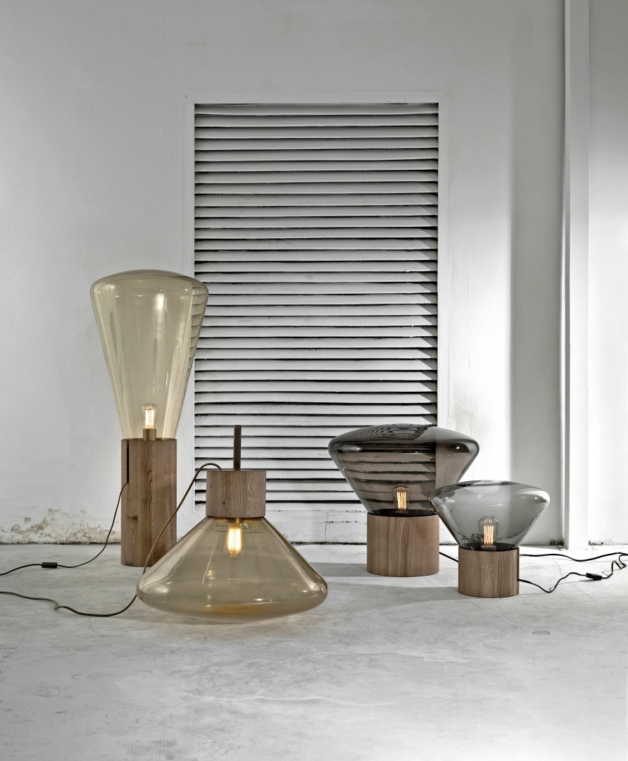 Muffins / Dan Yeffet & Lucie Koldova, series of mood lamps with base in blown glass and oak wood