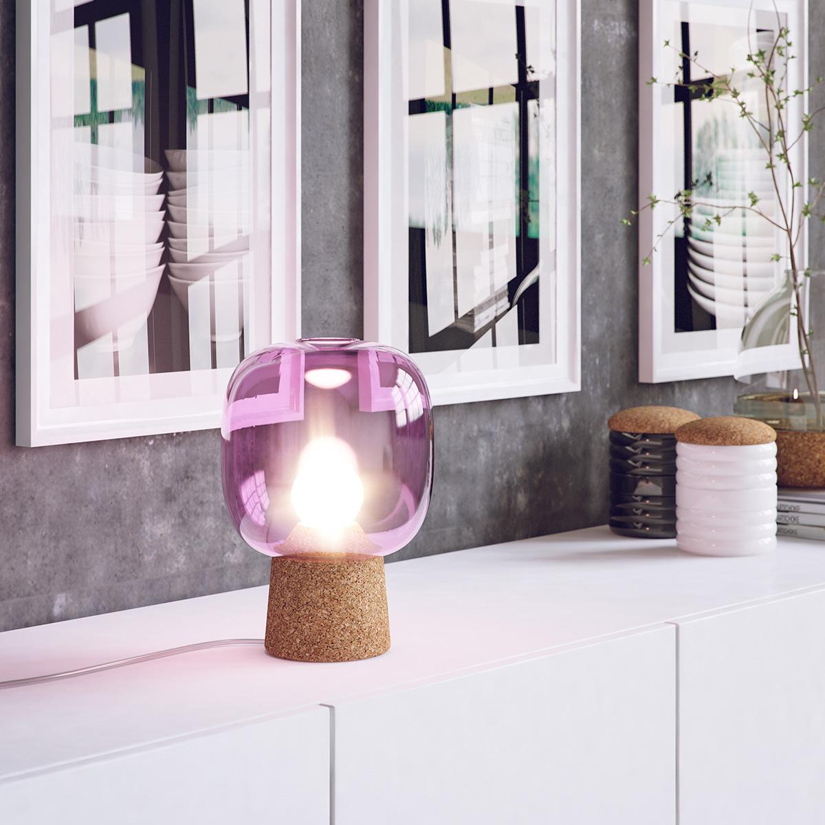 Picia / Enrico Zanolla, table lamp made of glass and cork