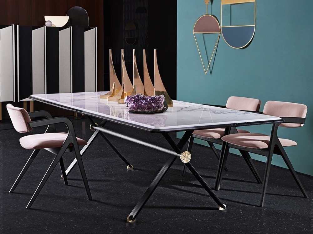 Maat / Gallotti & amp; Radice, dining table with aluminum frame, brass details and glass top