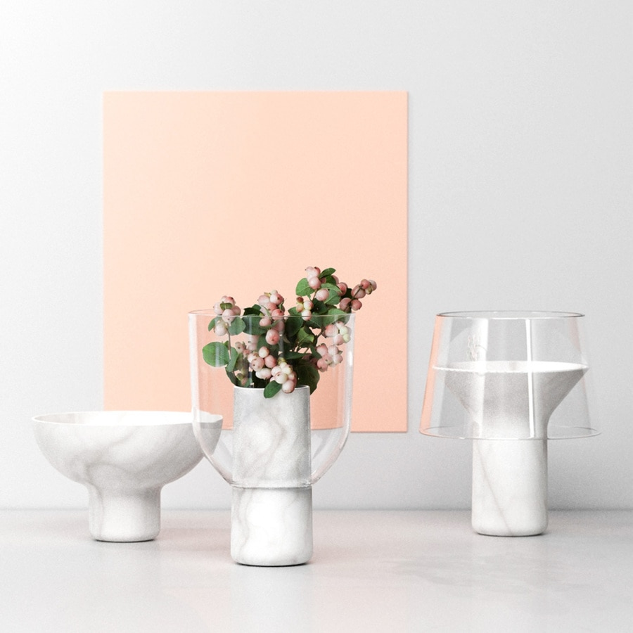 Abito / Sandro Lopez, marble and glass vases