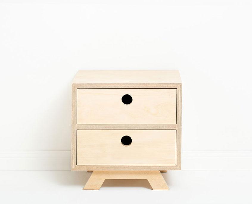 Bedside Rocco, 50cm (L) x40cm (D) x50cm (H), 2 storage drawers