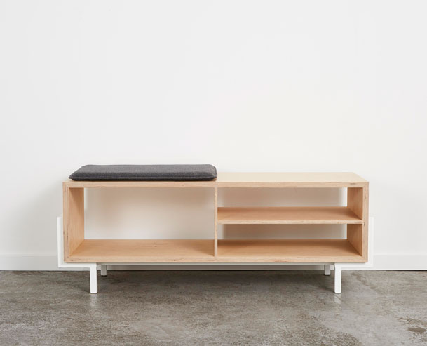 Douglas Bench, 125cm (L) x40cm (D) x45cm (H), Birch Plywood, White Powder Coated Steel