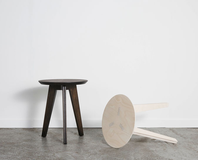 Stanley stool, 38cm (D) x45cm (H), birch plywood black or white, finished with wood wax