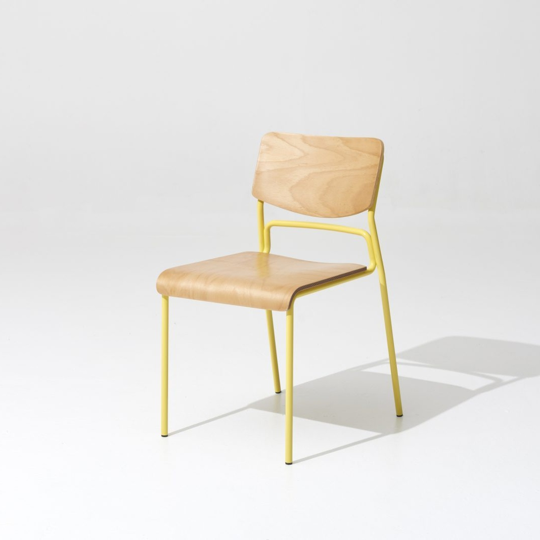 First Chair / 45cm (L) x55cm (W) x85cm (H), powder coated steel, beech plywood panels, different colors available