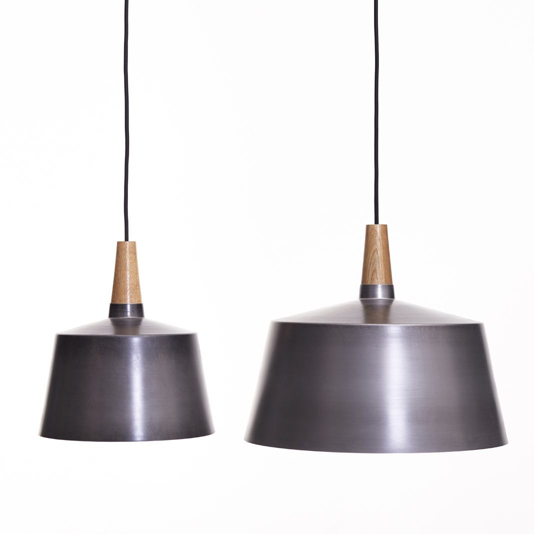 Morse pendant / steel and American oak wood, white ceramic sleeve, canvas cord, wooden awning