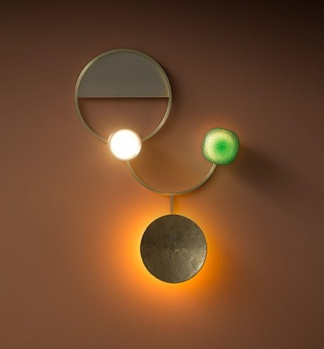 Gioielli / Giopato & Coombes, wall lamp with emerald green jewels in Murano glass