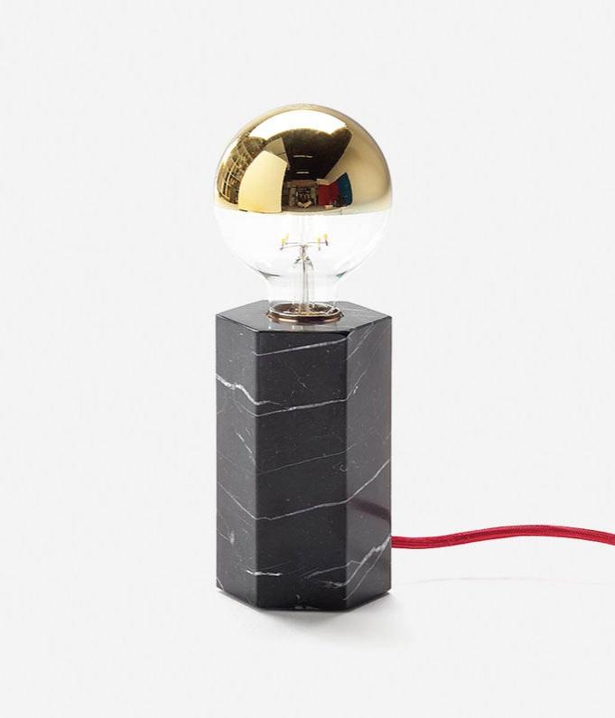 Marblelous Hex Lamp / Josep Vila Capdevila, marble, brass and cordon, 9.5x9.5x15cm