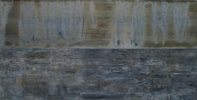 """Awareness of survival,2008 oil,mixed media on canvas 96x48"""""""