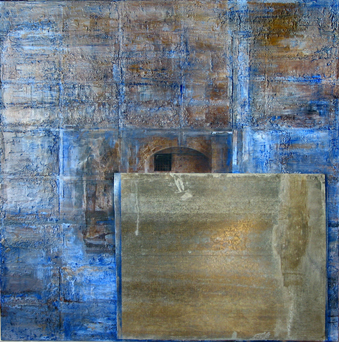 """Blue Memory, 2007 oil and miexed media on canvas 48x48"""""""