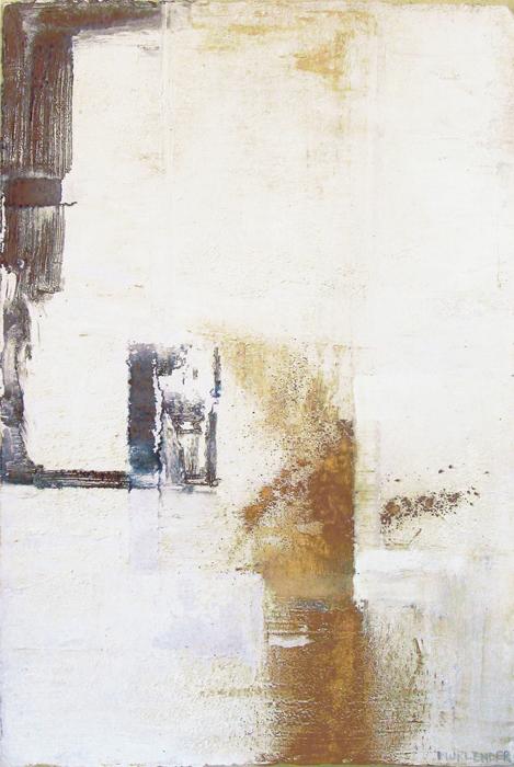 "White, 2005 acrylic, pygment on paper, 27x24"""