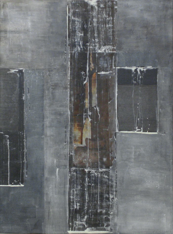 """Layer by layer,2008 oil,mixed media on canvas 48x36"""""""