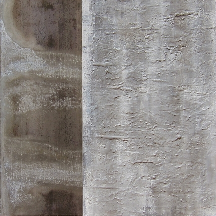 """Grey and metal,2011 oil, metal, mixed media on canvas 31x31"""""""