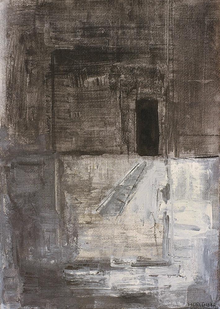 """Door to gray,2005 mixed media on paper 19x13"""""""