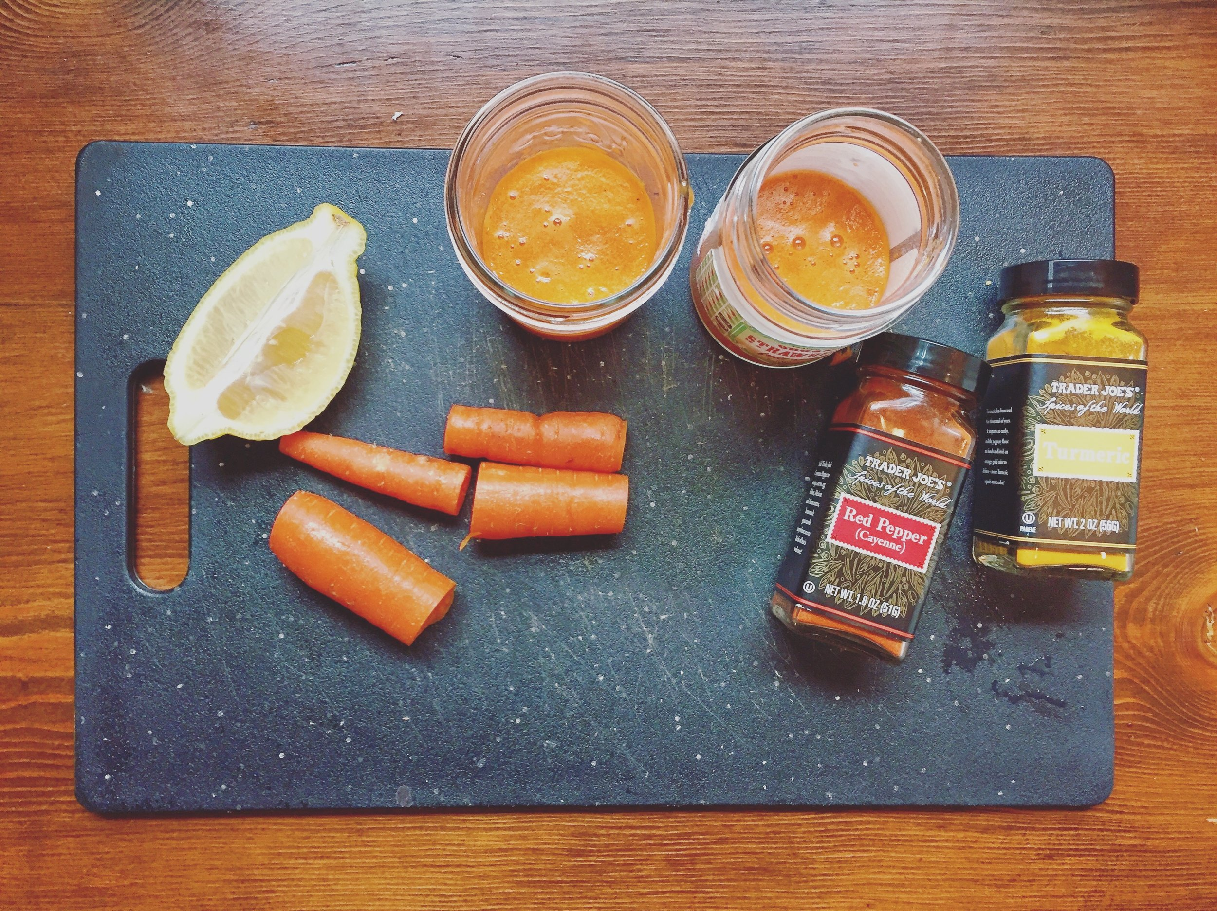 CARROT GINGER COLD KICKER - 1 TBS GROUND GINGER, 1 TBS GROUND CAYENNE PEPPER, 1 TBS GROUND TURMERIC, 2 WHOLE CARROTS, 1/2 SQUEEZED LEMON, 1 TBS HONEY, 1/2 SQUEEZED ORANGE JUICE BLEND (OR JUICE) CARROTS, ORANGE, & LEMON. ADD GINGER, CAYENNE, & TURMERIC. BELND/MIX WELL. ADD HONEY & TAKE IT FAST!