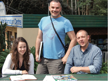 Researchers on a visit to Tamborine Mountain to discuss renewable energy.  From left: Isobel Graham, Craig Peters and Dr Sebastian Thomas