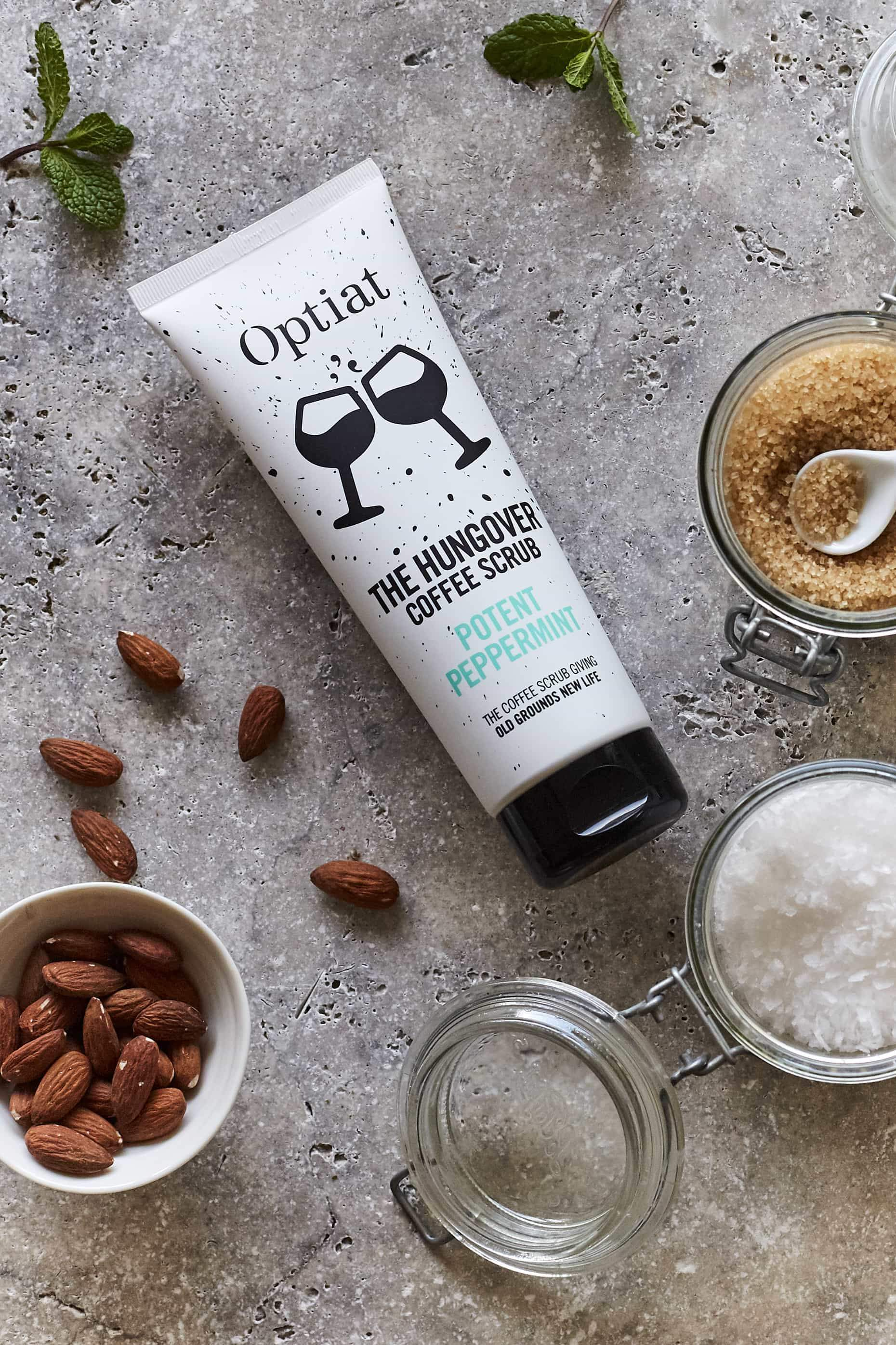 """OPTIAT COFFEE SCRUB - This one will help the Christmas and New Years hangovers. We love their Potent Peppermint Coffee Scrub.""""The Hungover"""".These guys collect coffee rounds from coffee shops all over London and turn them into coffee scrubs that make your body feel like a 10 when you're actually feeling like a 2 after six too many G&T's .£9.99optiat.com"""