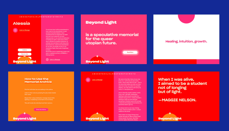 Written pieces from the archives, displaying the hopes + dreams of 'Beyond Light' participants.