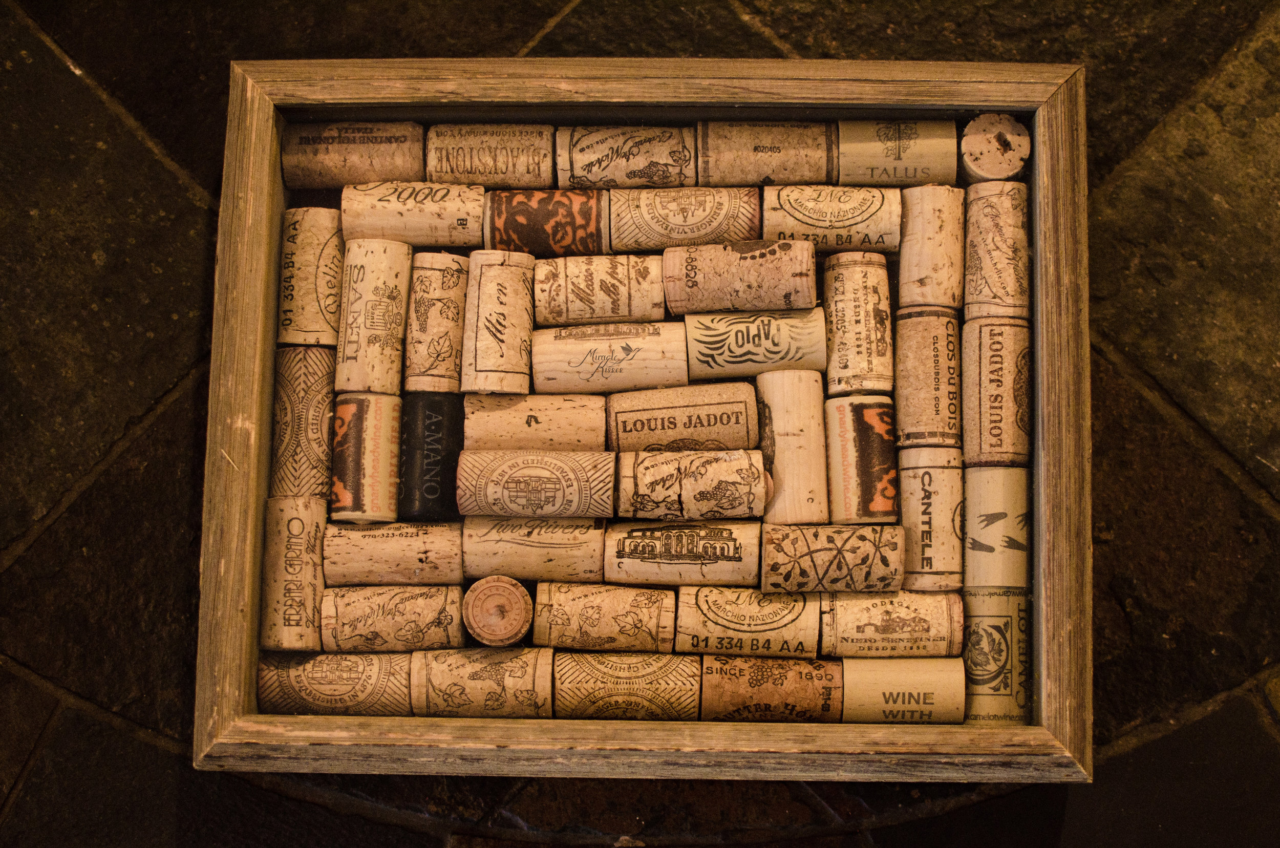 Topped, wine cork, shadow box