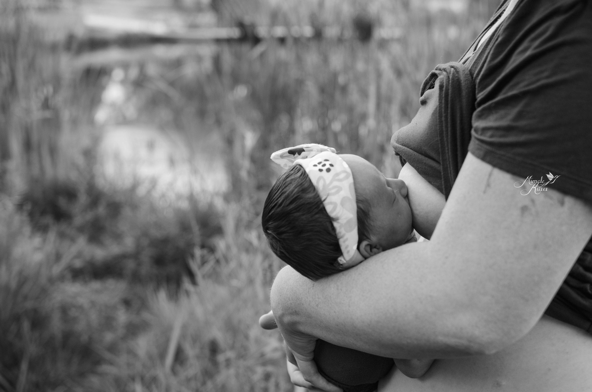 breastfeeding newborn, nursing outdoors, 31 days 31 stories