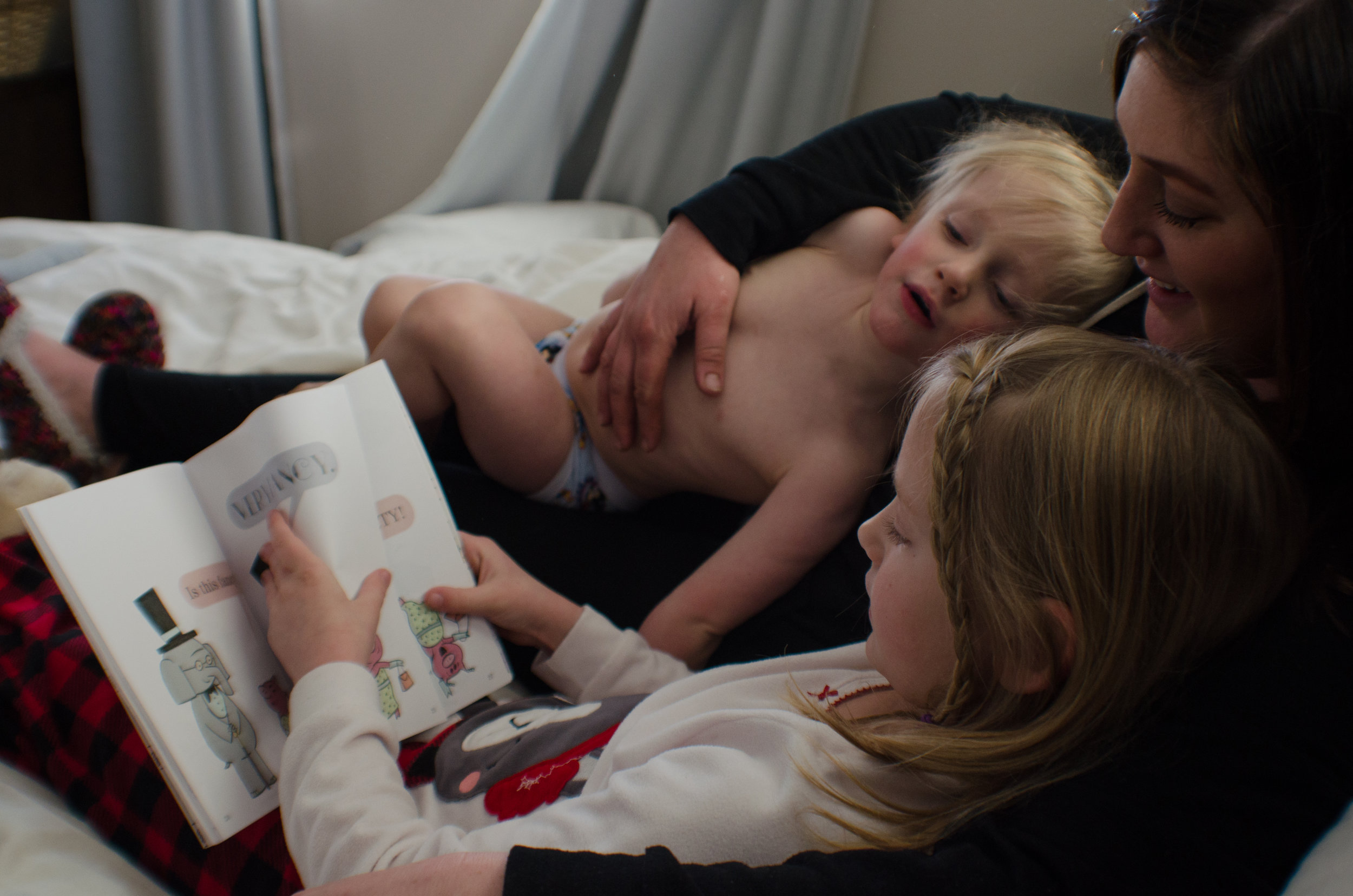 quiet moments, family time, reading in bed