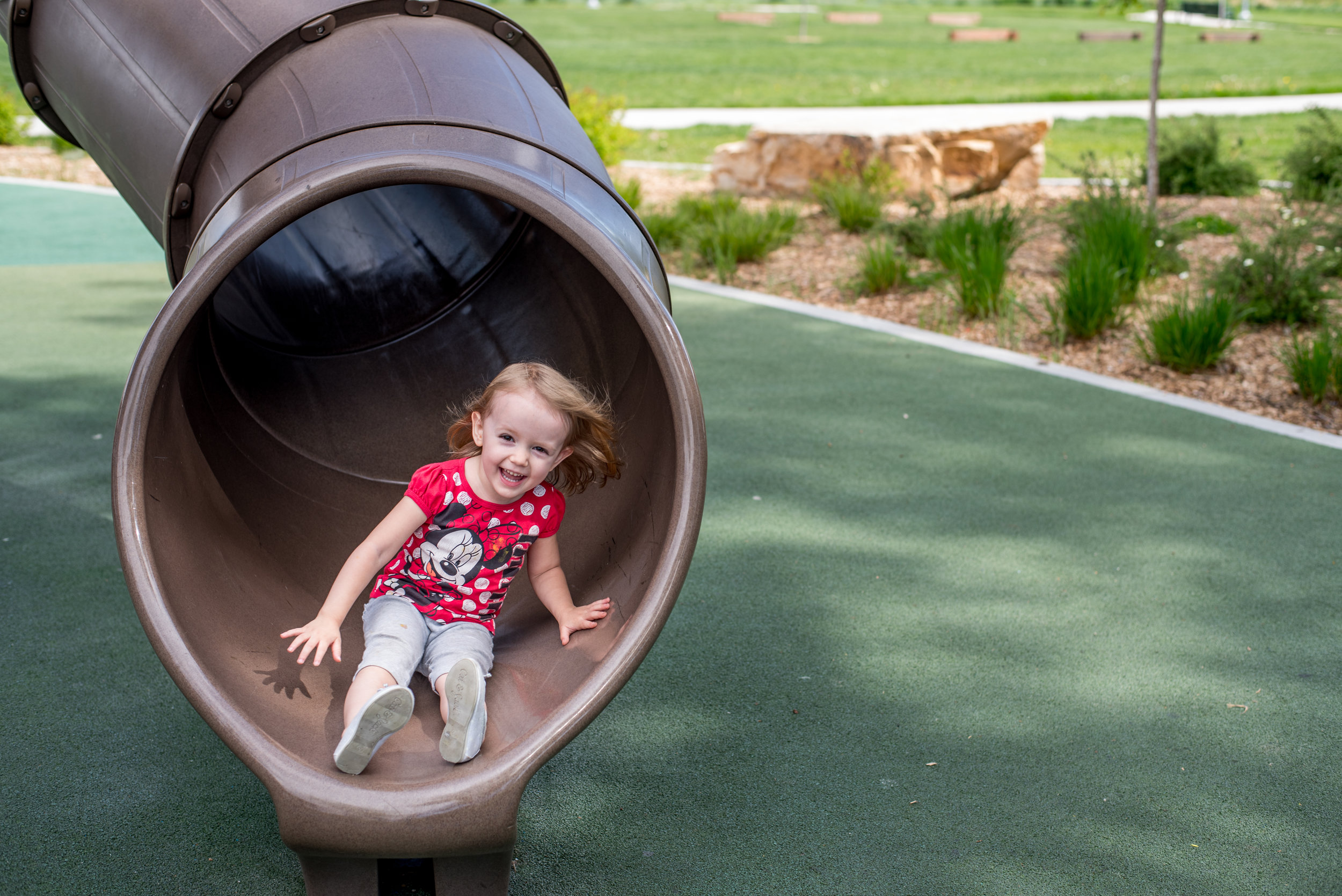 playground diaries, arvada park, slide joy