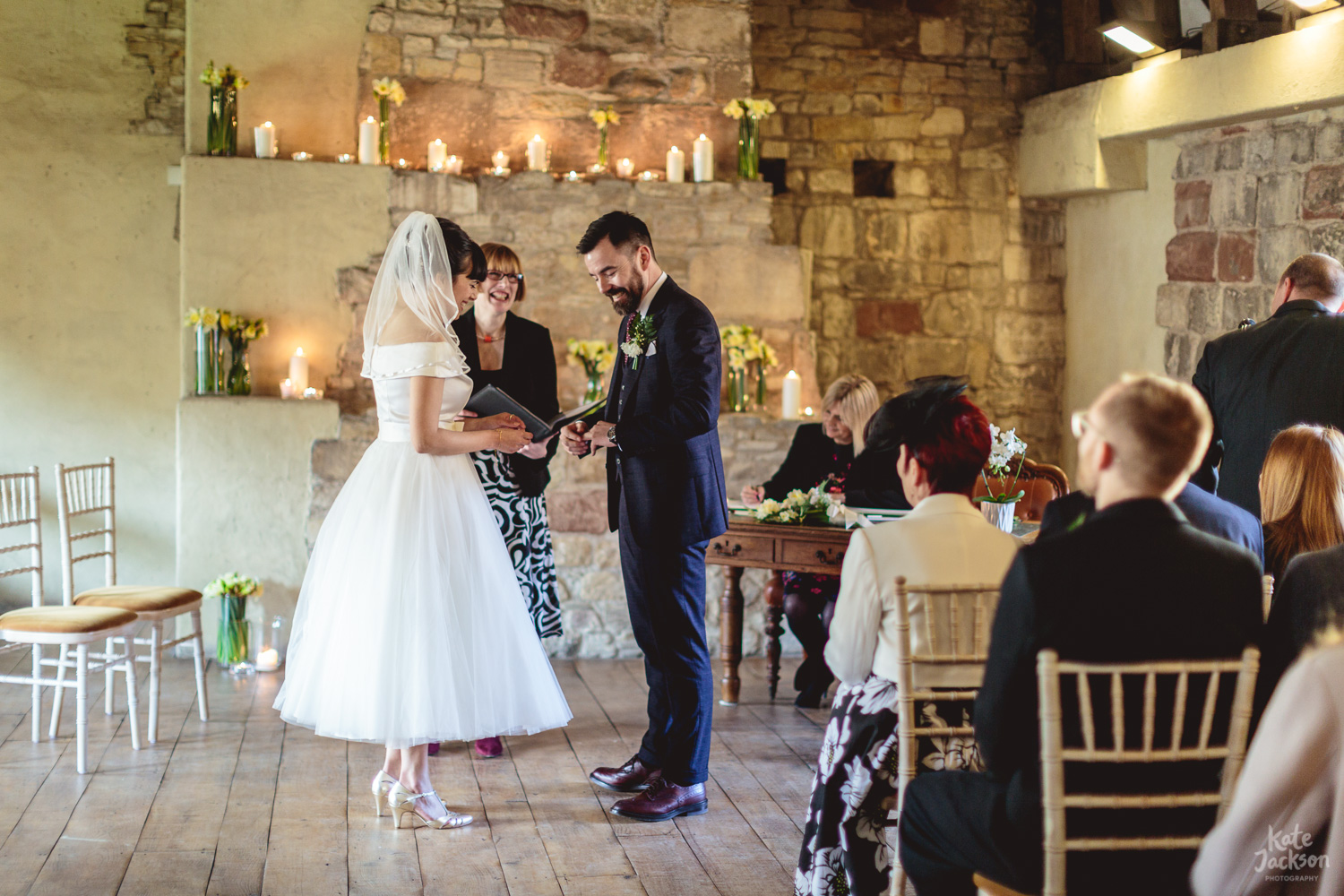 Exchanging Rings - Quirky Wedding at Blackfriars Priory Gloucester