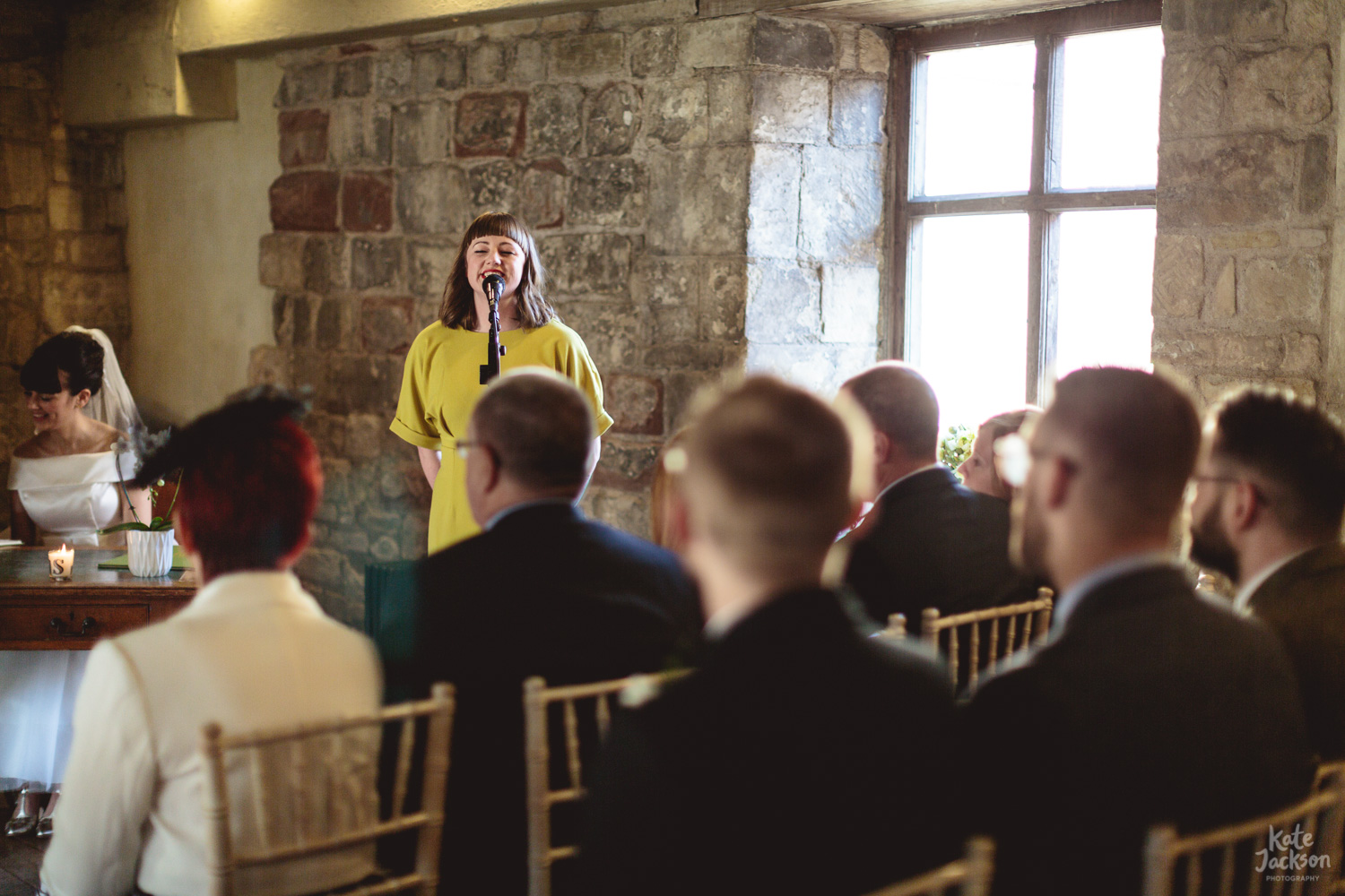 Singing guest during ceremony - Blackfriars Priory Gloucester | Kate Jackson Photography