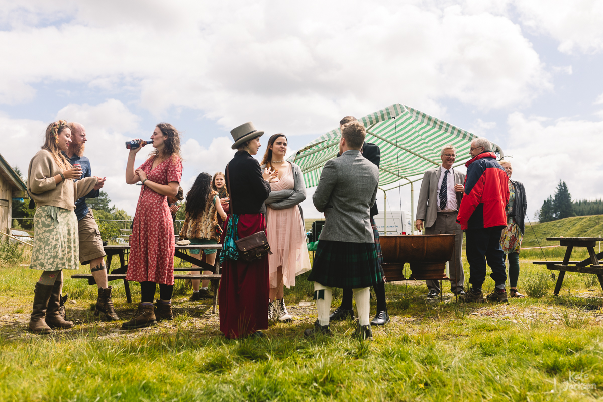 Fun Festival Wedding Photography at Knockengorroch in Scotland