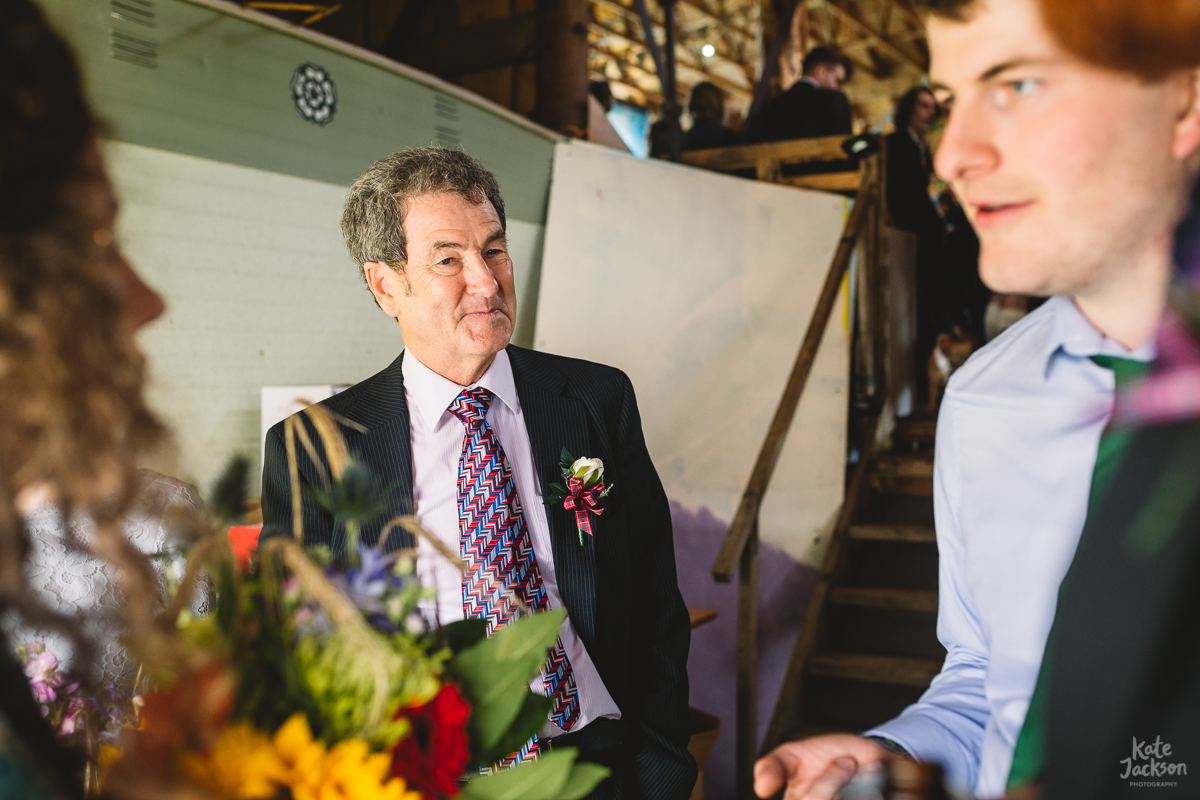 Dad about to walk bride down aisle at Relaxed DIY Festival Wedding at Knockengorroch | Kate Jackson Photography