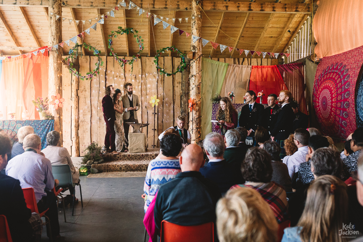Relaxed Festival Wedding Ceremony in Barn | Kate Jackson Photography