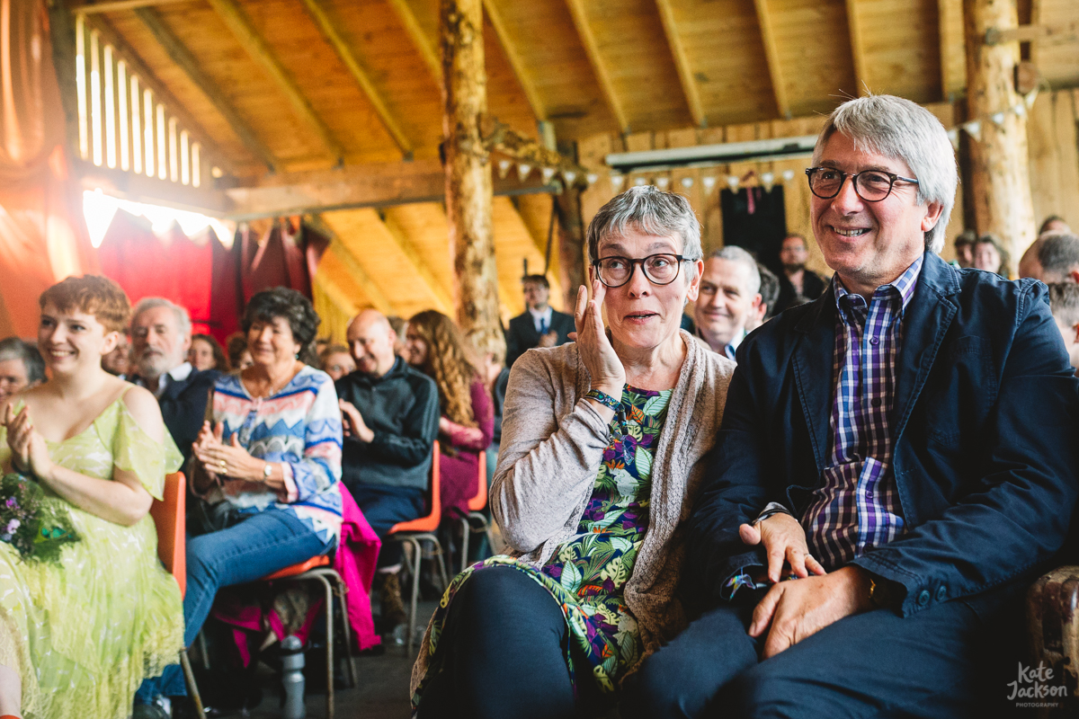 Mum and Dad at Festival Wedding Ceremony in Barn | Kate Jackson Photography