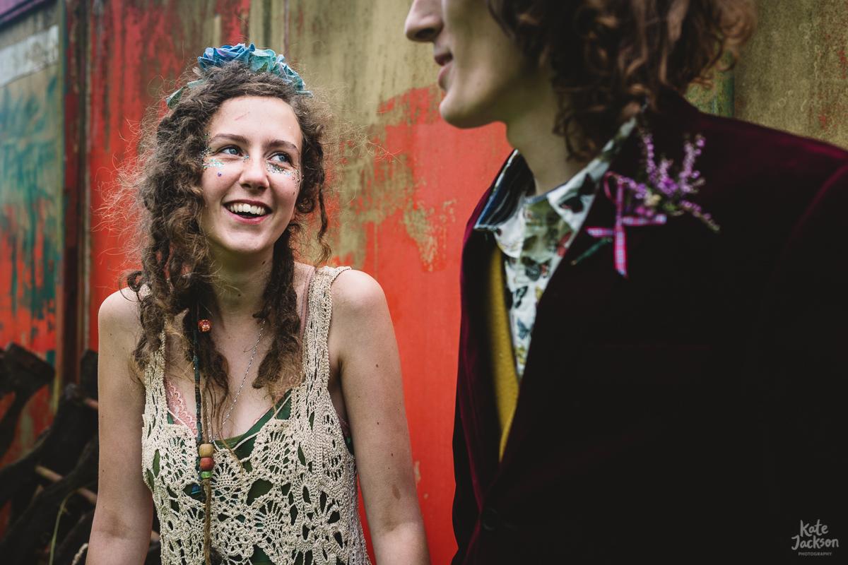 Festival bride in a crochet dress at Knockengorroch festival wedding | Kate Jackson Photography