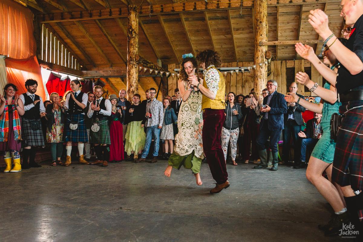 Ceilidh Wedding First Dance at DIY Festival Wedding | Kate Jackson Photography