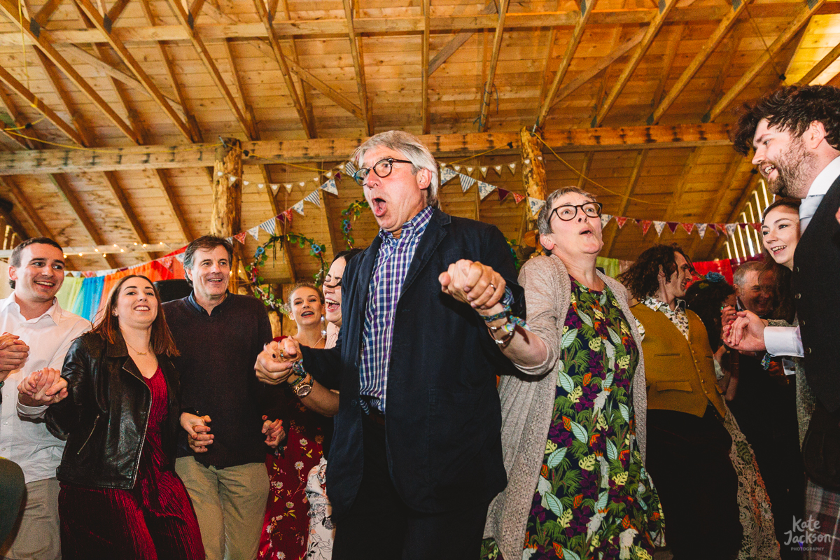 Fun wedding ceilidh dancing to Hectors Heroes Band | Kate Jackson Photography