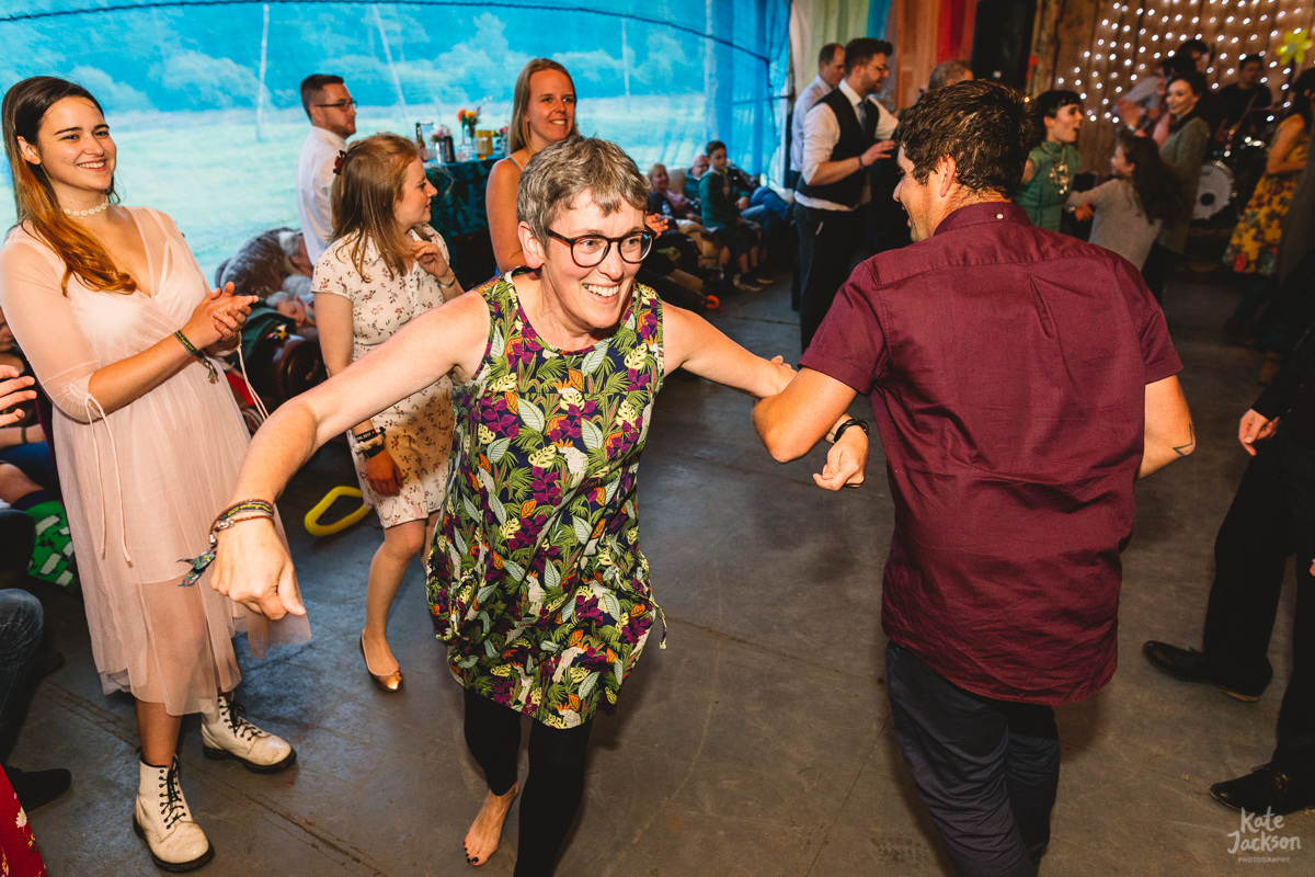 Mother of the groom dancing at wedding ceilidh at Knockengorroch | Kate Jackson Photography