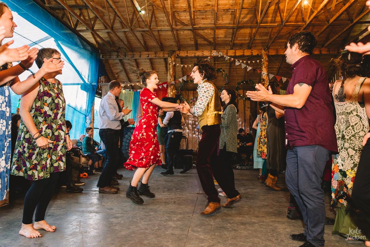 Crazy fun ceilidh dancing at Knockengorroch Wedding | Kate Jackson Photography